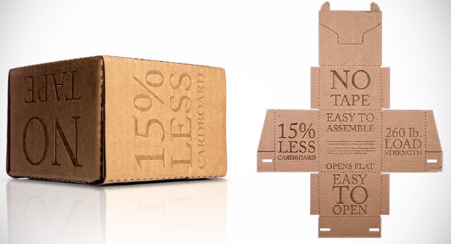 Ingeniosa caja de cartón que permite ahorrar materiales y no requiere de cinta para su sellado